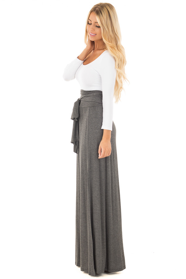 Charcoal Maxi Skirt with Waist Tie and Slit Detail side full body