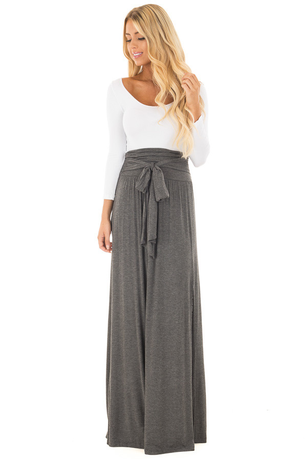 Charcoal Maxi Skirt with Waist Tie and Slit Detail front full body
