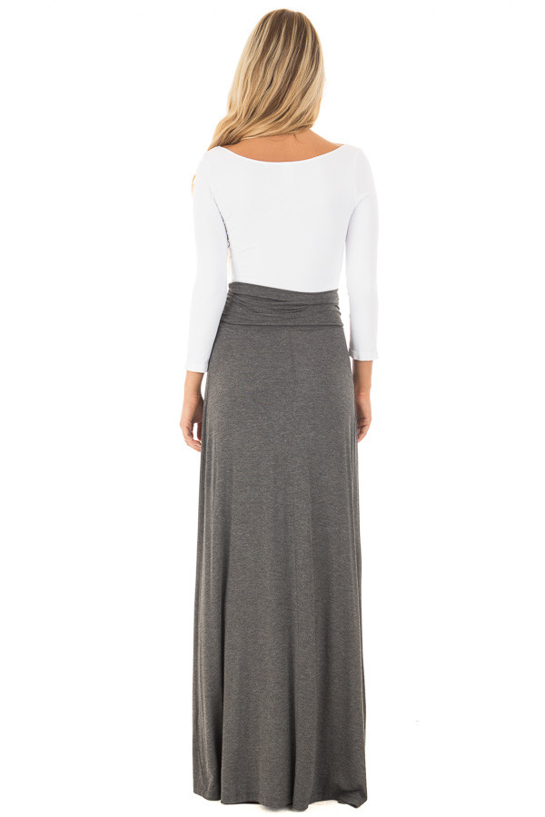 Charcoal Maxi Skirt with Waist Tie and Slit Detail back full body