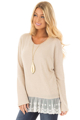 Taupe Long Sleeve Top with White Lace Trim Contrast front close up