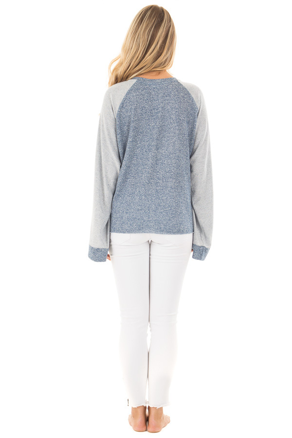 Denim Blue Lightweight Sweater with Contrast and Tie Details back full body