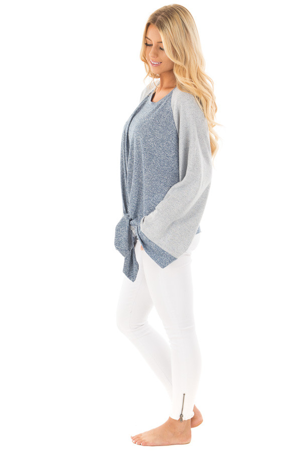 Denim Blue Lightweight Sweater with Contrast and Tie Details side full body