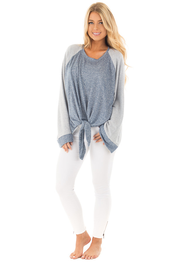 Denim Blue Lightweight Sweater with Contrast and Tie Details front full body