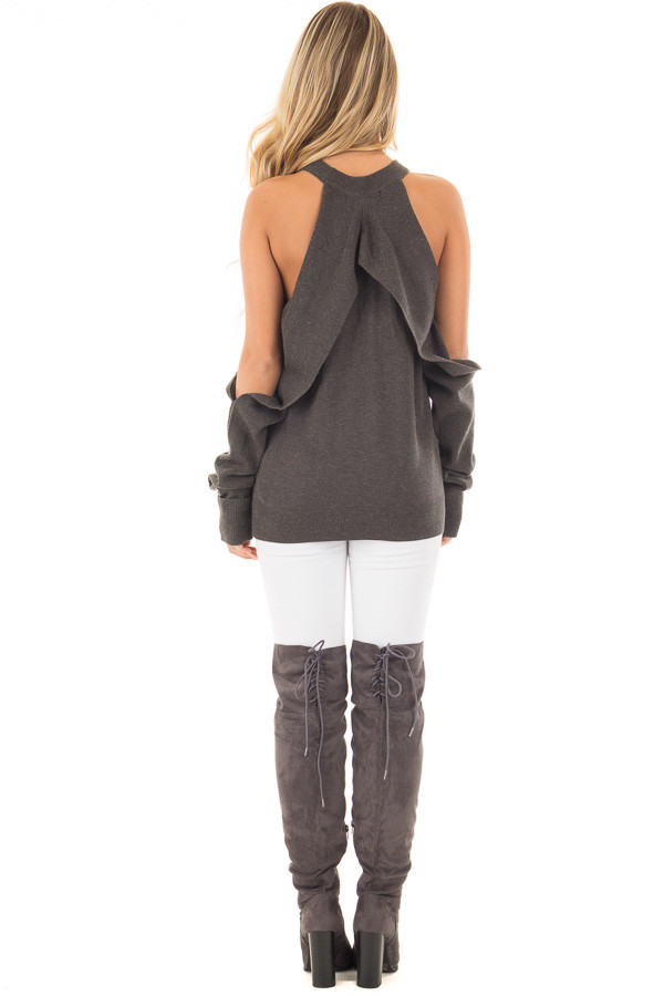 Charcoal Cold Shoulder Long Sleeve Top with Overlay Detail back full body
