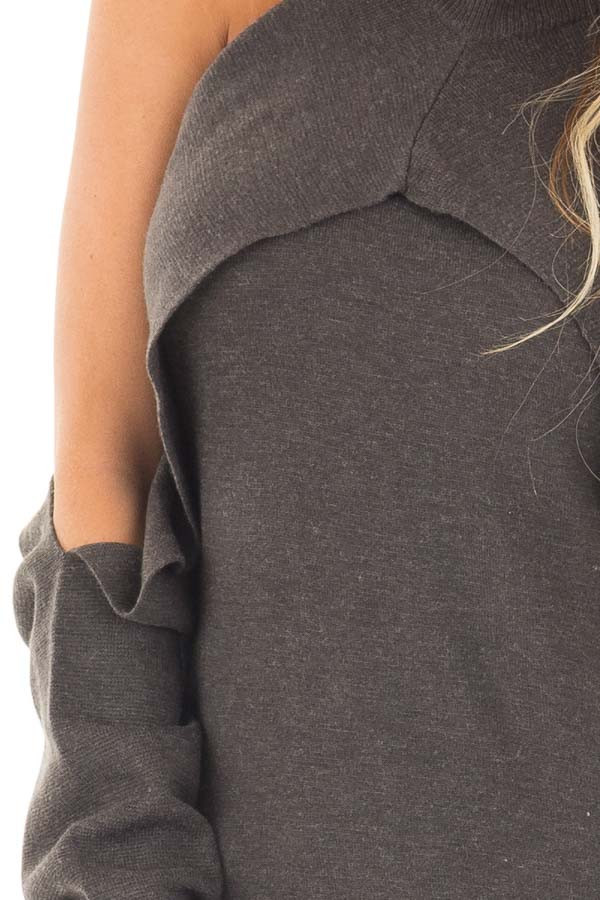 Charcoal Cold Shoulder Long Sleeve Top with Overlay Detail detail