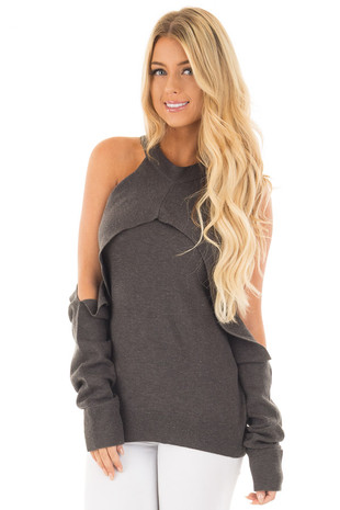 Charcoal Cold Shoulder Long Sleeve Top with Overlay Detail front close up