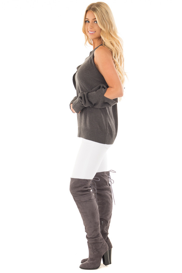 Charcoal Cold Shoulder Long Sleeve Top with Overlay Detail side full body