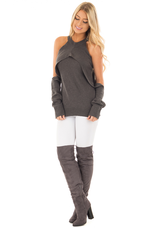 Charcoal Cold Shoulder Long Sleeve Top with Overlay Detail front full body