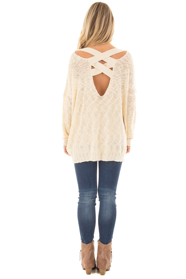 Cream Loose Knit Sweater with Criss Cross Back back full body