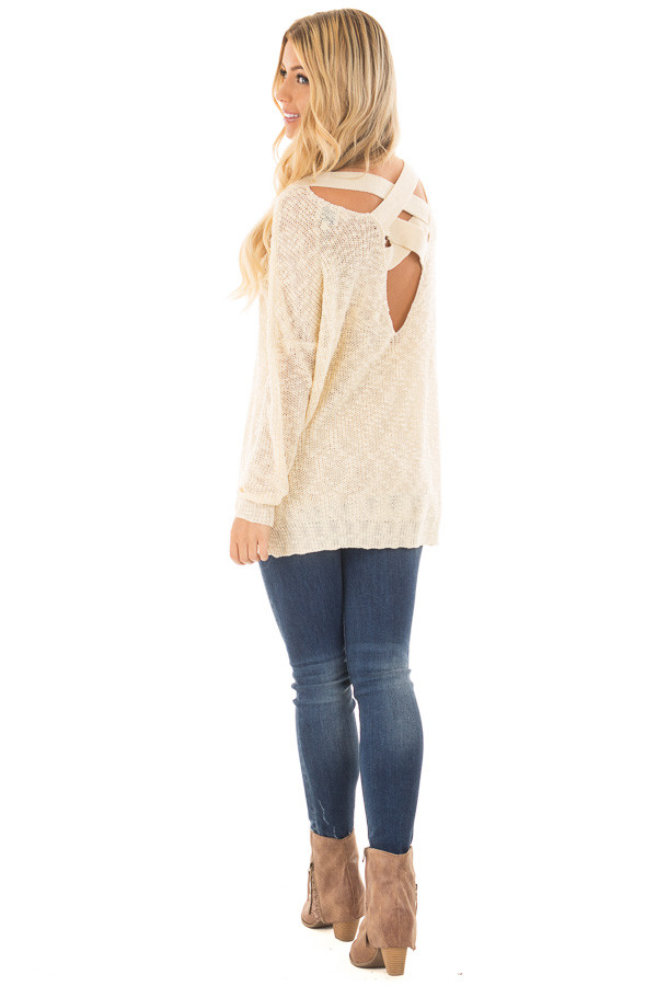 Cream Loose Knit Sweater with Criss Cross Back back side full body