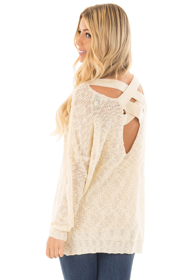 Cream Loose Knit Sweater with Criss Cross Back back side close