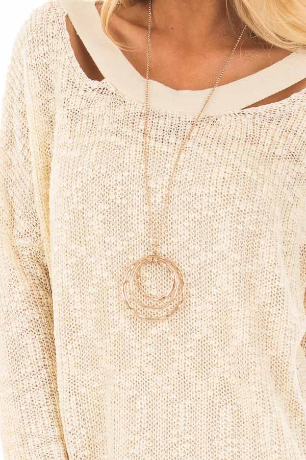 Cream Loose Knit Sweater with Criss Cross Back detail