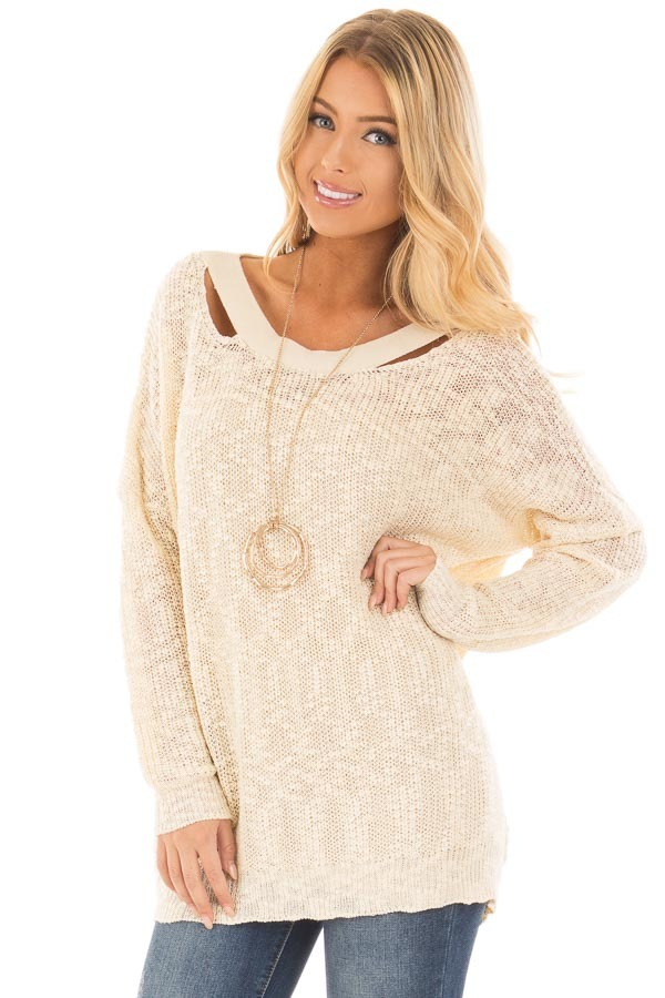 Cream Loose Knit Sweater with Criss Cross Back front close up