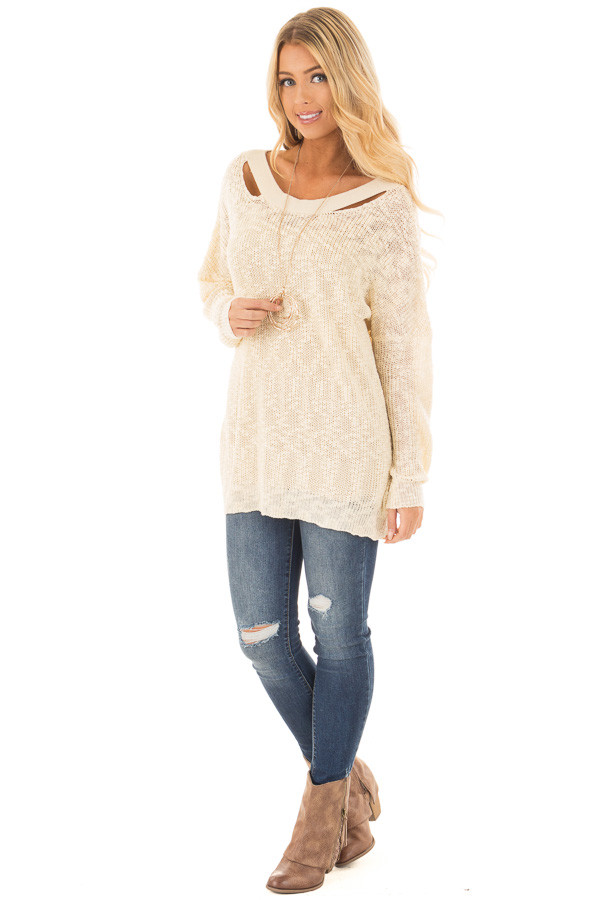 Cream Loose Knit Sweater with Criss Cross Back front full body