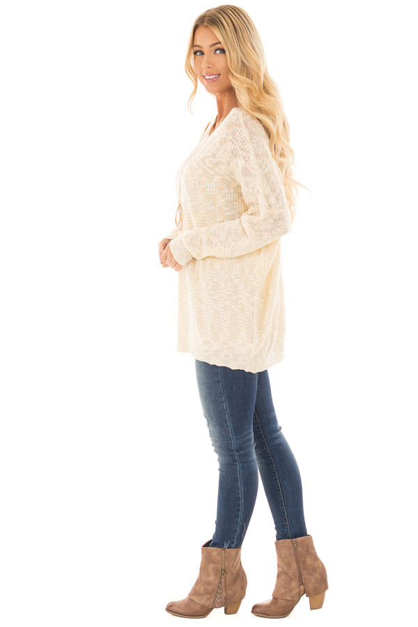 Cream Loose Knit Sweater with Criss Cross Back side full body