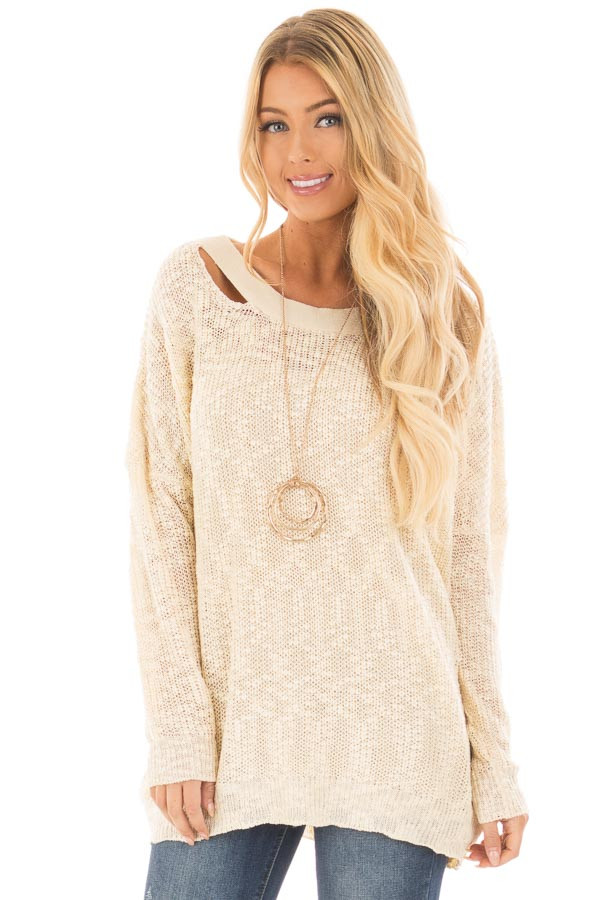 Cream Loose Knit Sweater with Criss Cross Back - Lime Lush Boutique