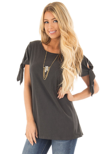 Faded Black Top with Sleeve Tie Detail front close up