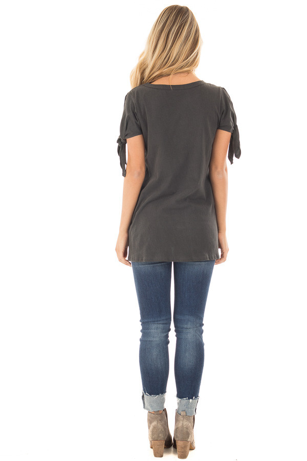 Faded Black Top with Sleeve Tie Detail back full body
