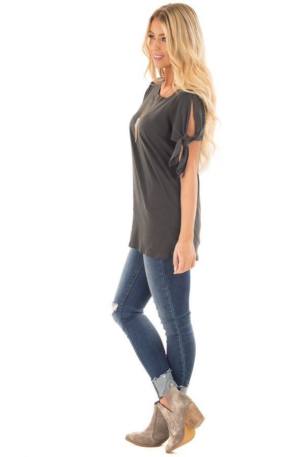 Faded Black Top with Sleeve Tie Detail side full body