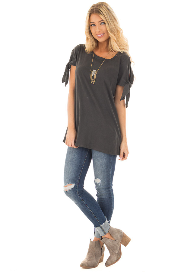 Faded Black Top with Sleeve Tie Detail front full body