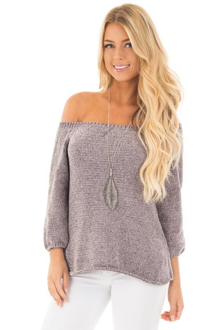Pearl Grey Super Soft and Luxurious Off the Shoulder Sweater front close up