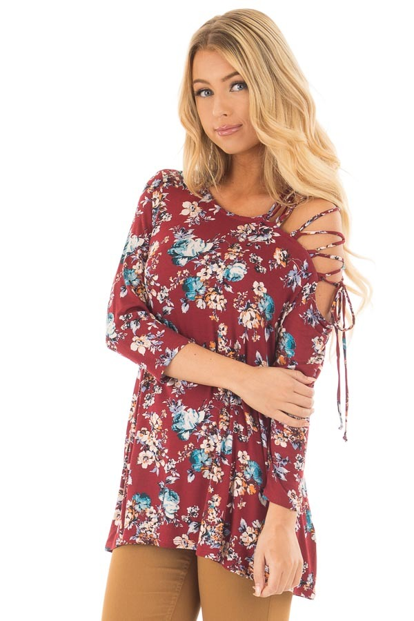 Burgundy Floral Top with Lace Up Off One Shoulder Detail front close up