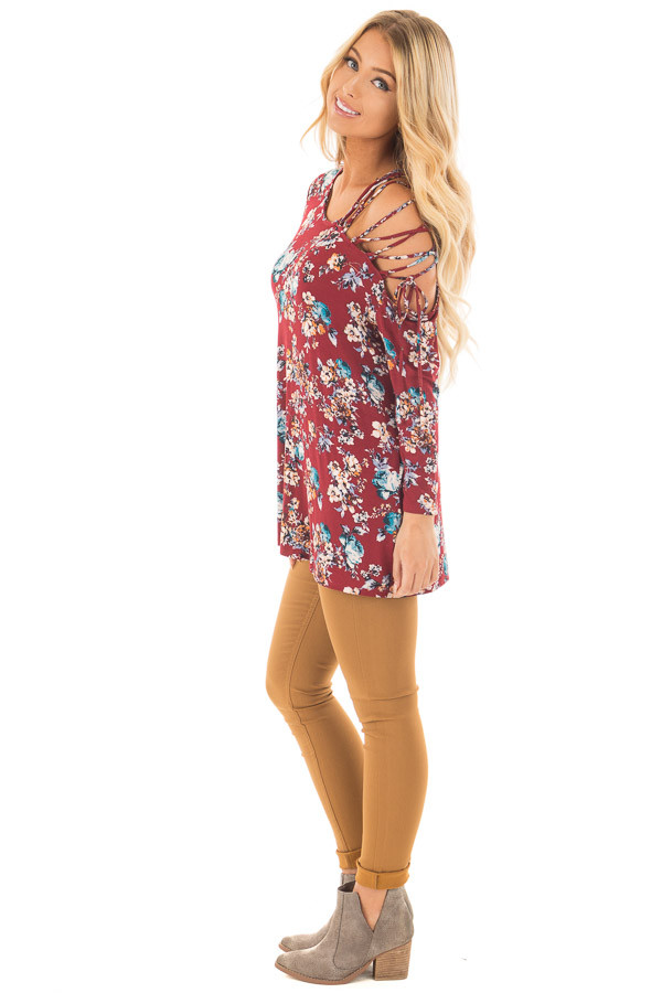 Burgundy Floral Top with Lace Up Off One Shoulder Detail side full body