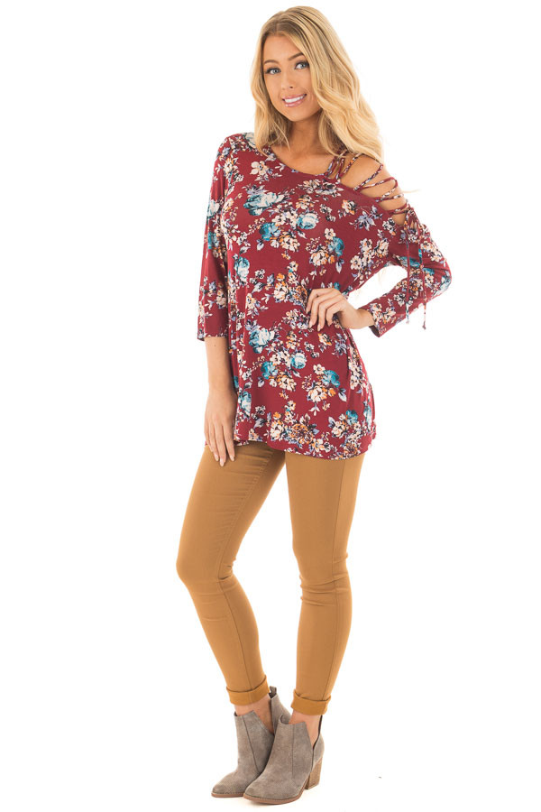 Burgundy Floral Top with Lace Up Off One Shoulder Detail front full body