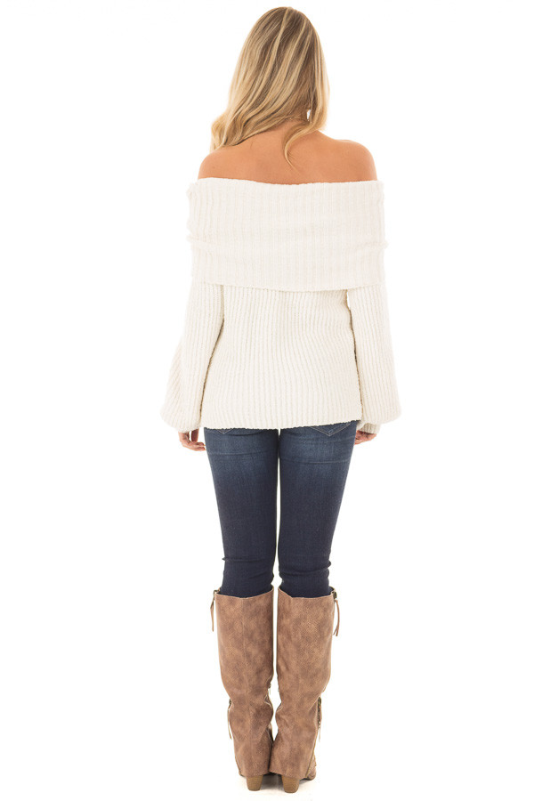 Pearl Ivory Soft and Luxurious Fold Over Sweater back full body