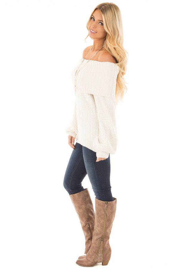 Pearl Ivory Soft and Luxurious Fold Over Sweater side full body