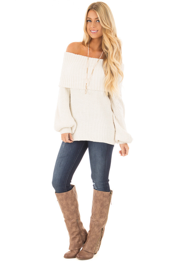 Pearl Ivory Soft and Luxurious Fold Over Sweater front full body