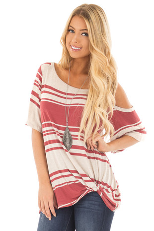Brick Red Striped Cold Shoulder Top with Twisted Front front close up