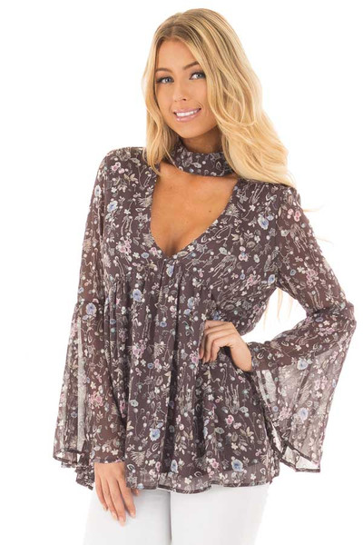 Charcoal Floral Print Deep V Neck Blouse with Bell Sleeves front close up