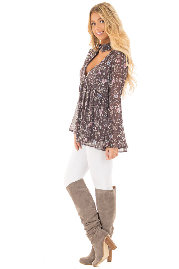 Charcoal Floral Print Deep V Neck Blouse with Bell Sleeves side full body