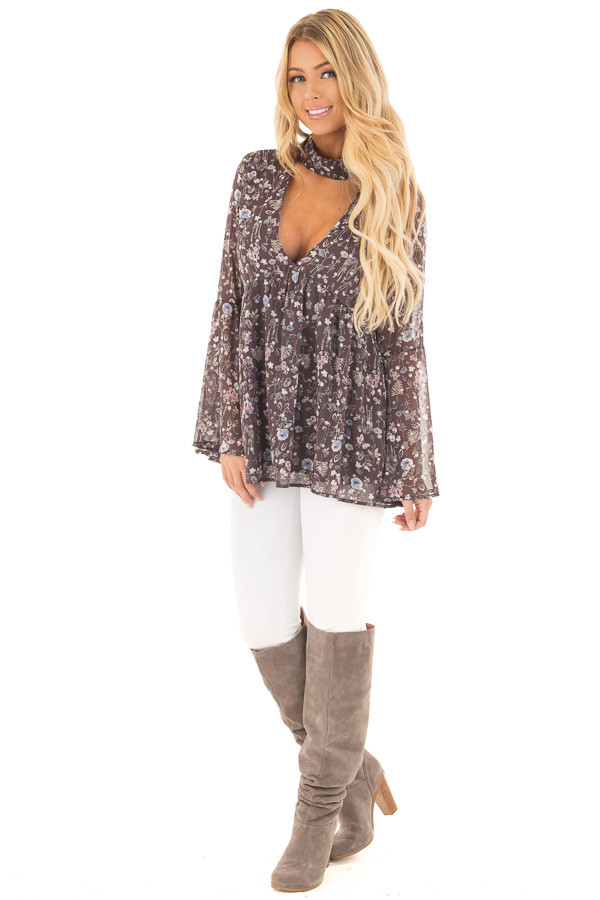 Charcoal Floral Print Deep V Neck Blouse with Bell Sleeves front full body