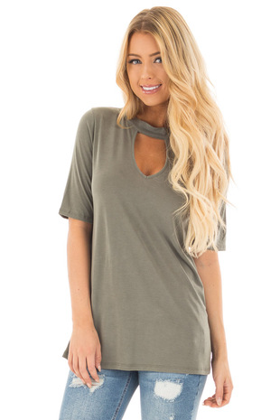 Olive Soft and Comfy Tee Shirt with Cut Out V Neckline front close up