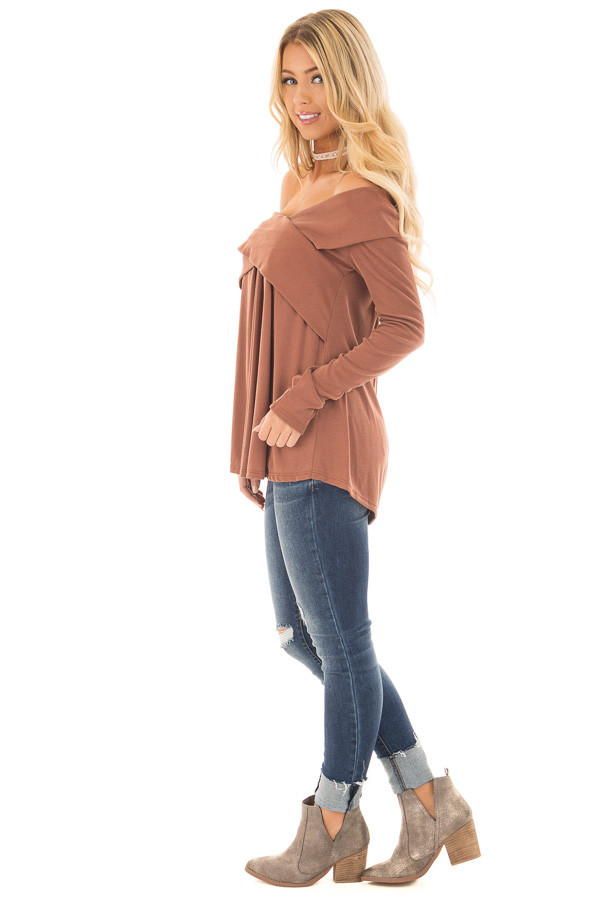 Camel Off Shoulder Cross Over Ribbed Knit Top side full body