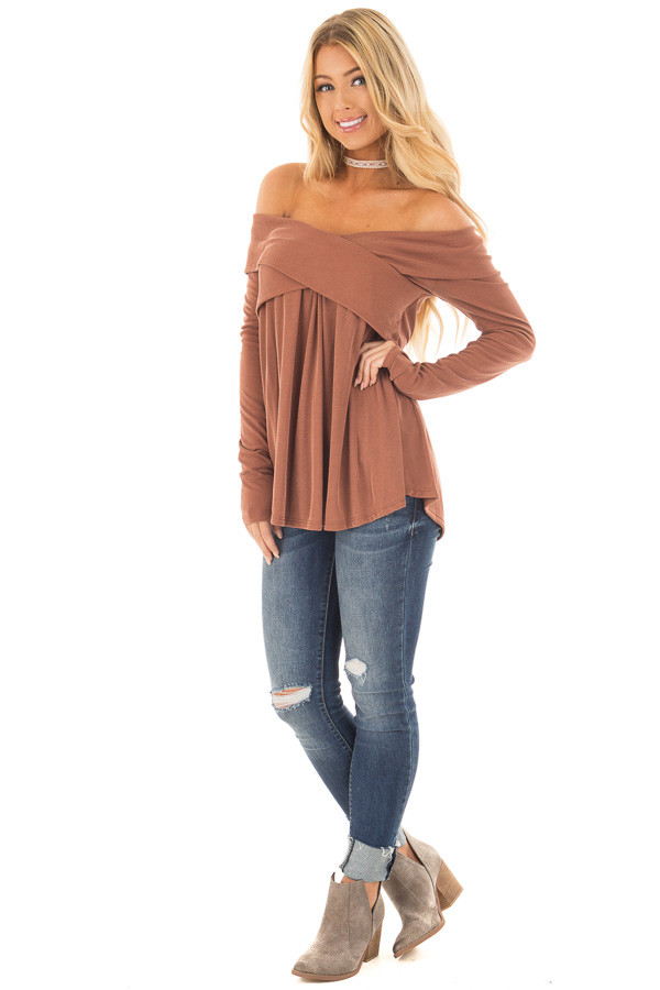 Camel Off Shoulder Cross Over Ribbed Knit Top front full body