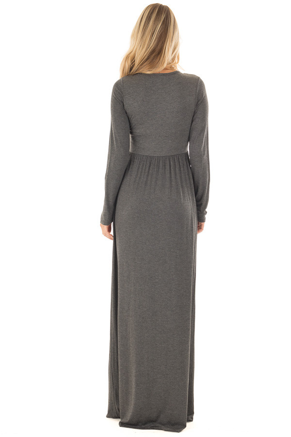 Charcoal Long Sleeve High Waist Maxi Dress with Pockets back full body