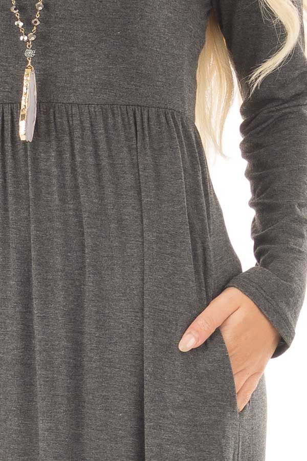 Charcoal Long Sleeve High Waist Maxi Dress with Pockets detail