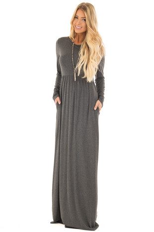 Charcoal Long Sleeve High Waist Maxi Dress with Pockets front full body