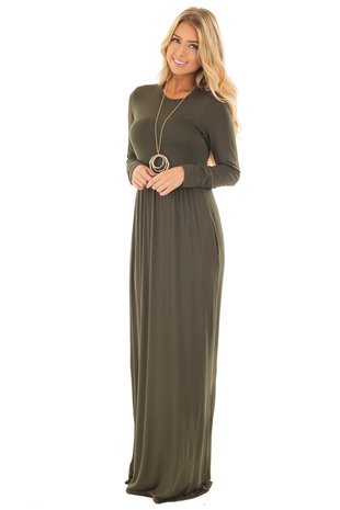 Olive Long Sleeve High Waist Maxi Dress with Pockets front full body