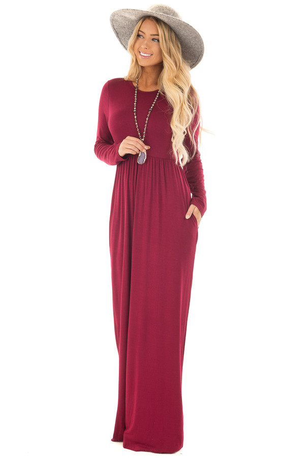 Burgundy Long Sleeve High Waist Maxi Dress with Pockets front full body