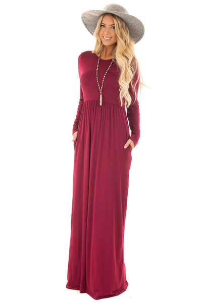 Burgundy Long Sleeve High Waist Maxi Dress with Pockets front close up