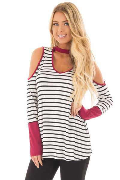 Burgundy Striped Cold Shoulder Top with Cut Out Neckline front close up
