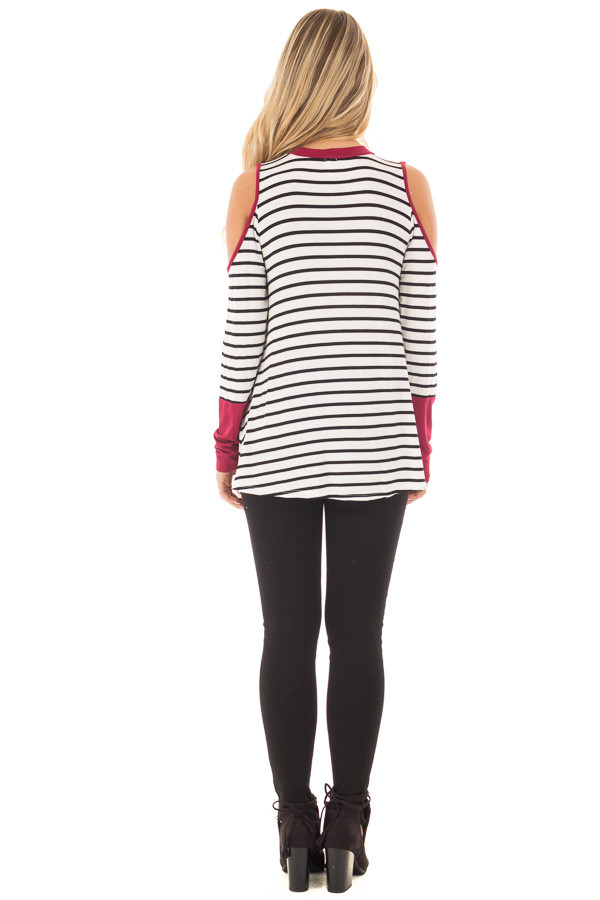 Burgundy Striped Cold Shoulder Top with Cut Out Neckline back full body