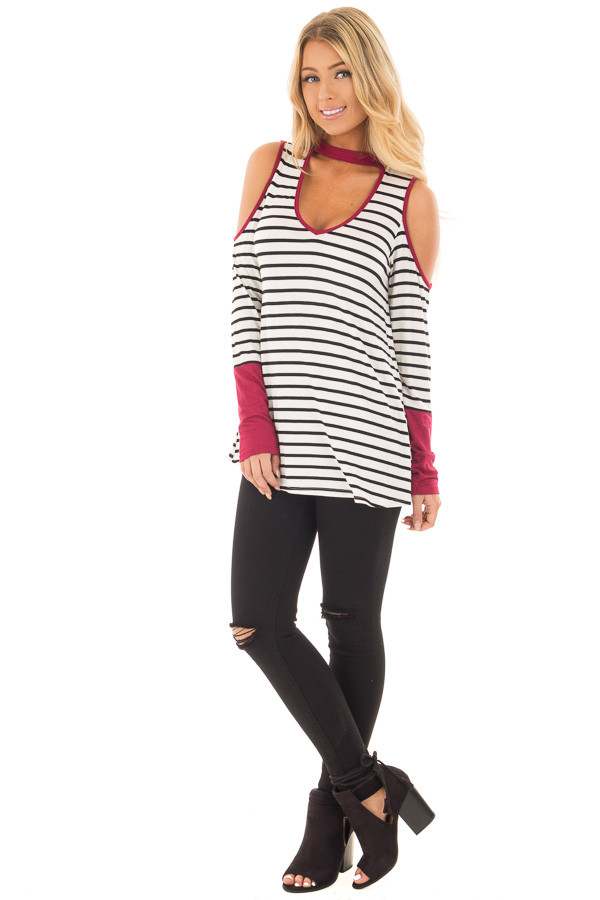Burgundy Striped Cold Shoulder Top with Cut Out Neckline front full body