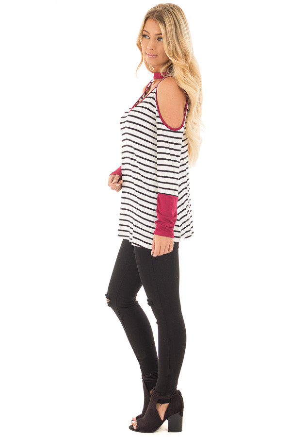 Burgundy Striped Cold Shoulder Top with Cut Out Neckline side full body