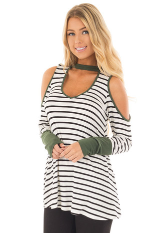 Olive Striped Cold Shoulder Top with Cut Out Neckline front close up
