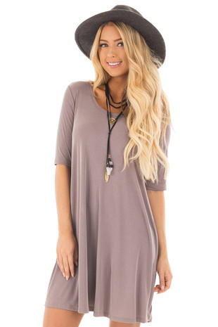 Mocha Ribbed Knit Half Sleeve Dress front close up